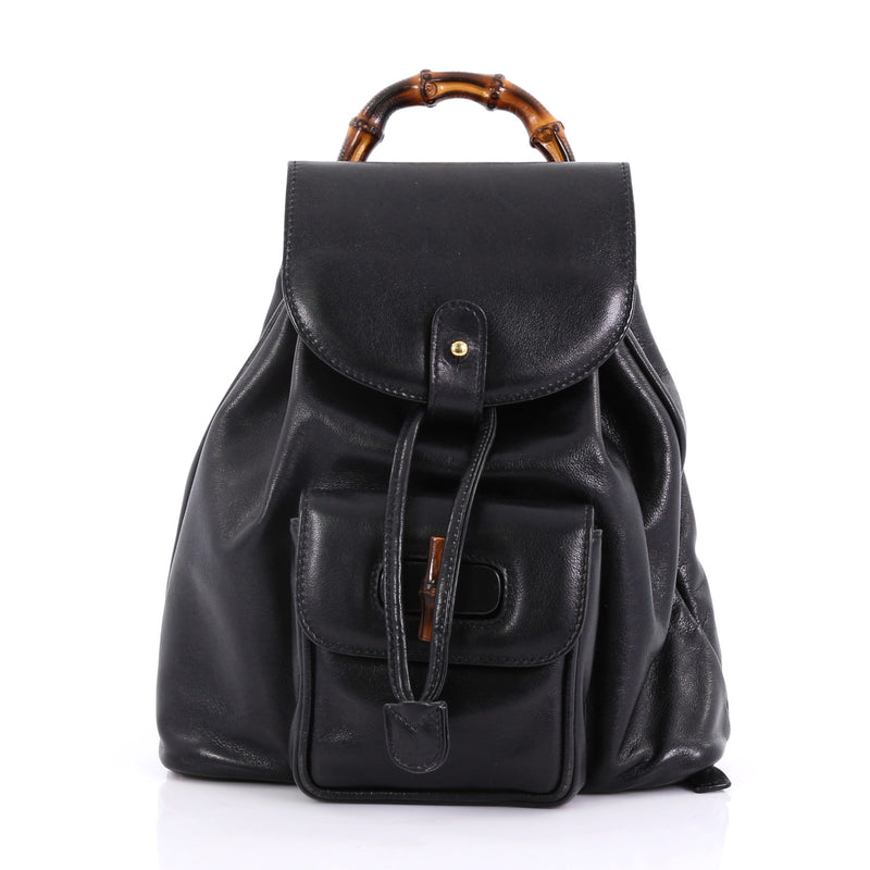 3914be516f6c Gucci Vintage Bamboo Backpack Leather Mini Black 402201 – Rebag