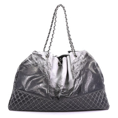 Chanel Melrose Degrade Cabas Tote Patent Black