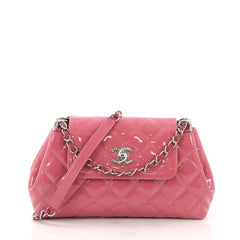 Chanel Coco Shine Accordion Flap Bag Quilted Patent Small Pink