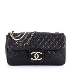 Chanel Westminster Pearl Chain Flap Bag Quilted Lambskin Medium