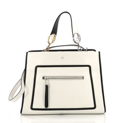 Fendi Runaway Handbag Leather Regular White