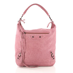 Balenciaga Day Hobo Classic Studs Leather Pink 402465