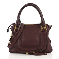 Chloe Marcie Satchel Leather Medium Purple
