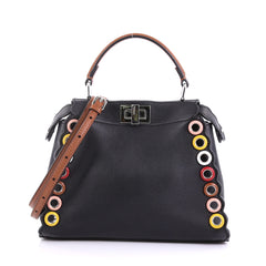 Fendi Eyelet Peekaboo Handbag Leather Mini Black