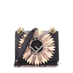 Fendi Kan I F Shoulder Bag Embellished Python Small Black