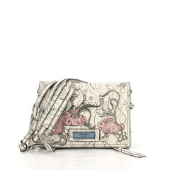 Prada Etiquette Flap Bag Printed Leather Small White 4030429