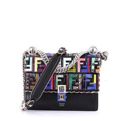 Fendi Kan I Handbag Logo Embossed Patent and Leather Small Black