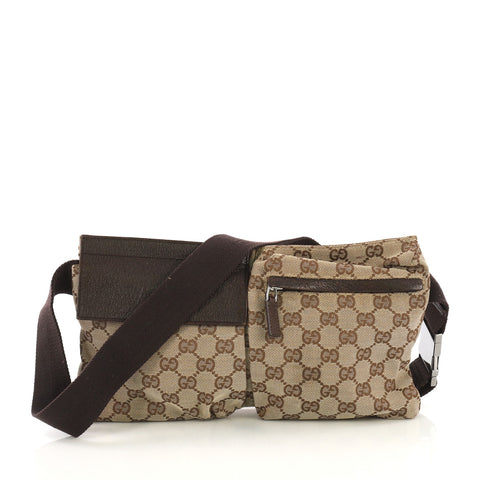 a5b1abee0356 Gucci Vintage Double Belt Bag GG Canvas Neutral 4030435 – Rebag