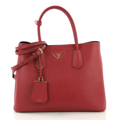 Prada Cuir Double Tote Saffiano Leather Small Red