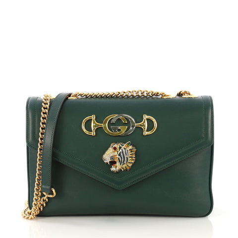 611c4f3aa Gucci Rajah Chain Shoulder Bag Leather Medium Green 403141 – Rebag