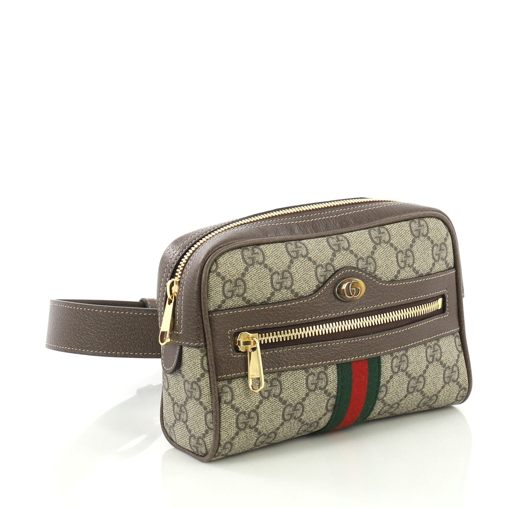 0959eb88c Gucci Ophidia Belt Bag GG Coated Canvas Small Brown 403202 – Rebag