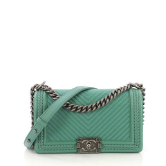 Chanel Braided Boy Flap Bag Chevron Lambskin Old Medium Green