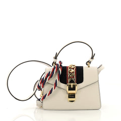 Gucci Sylvie Top Handle Bag Leather Mini White