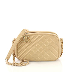 Chanel Coco Boy Camera Bag Quilted Leather Small Gold