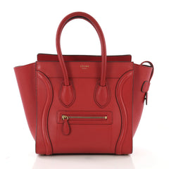 Celine Luggage Handbag Grainy Leather Micro Red