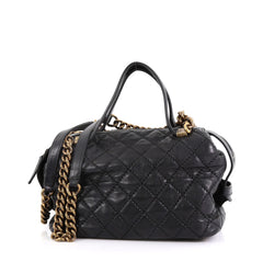 Chanel Chain Bowling Bag Quilted Calfskin Medium Black