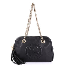 Gucci Soho Chain Zipped Shoulder Bag Leather Small Black