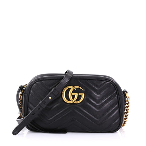 640b978794d Gucci GG Marmont Shoulder Bag Matelasse Leather Small Black 403611 – Rebag