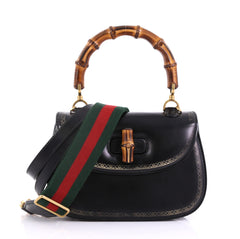 Gucci Bamboo Web Top Handle Bag Printed Leather Small Black