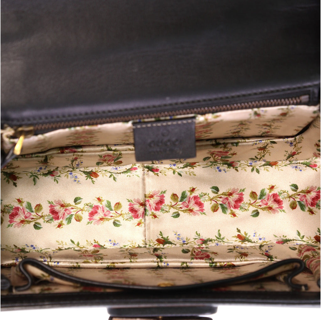 7331d151aa7 Gucci Bamboo Web Top Handle Bag Printed Leather Small Black 403921 ...