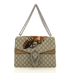 Gucci Dionysus Handbag Embroidered GG Coated Canvas Medium Brown