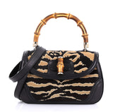 Gucci New Bamboo Convertible Top Handle Bag Printed Pony Hair