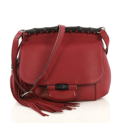 Gucci Nouveau Fringe Crossbody Bag Leather Medium Red