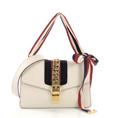 Gucci Sylvie Shoulder Bag Leather Small White