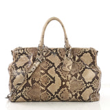 Prada Double Zip Lux Tote Python Large Neutral 404181