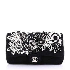 Chanel Classic Single Flap Bag Embroidered Quilted Jersey Medium