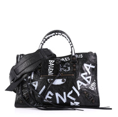 Balenciaga City Graffiti Classic Studs Handbag Leather Small Black
