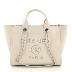 Chanel Deauville Chain Tote Studded Caviar Small White