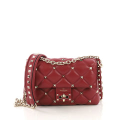 Valentino Candystud Crossbody Bag Leather Large Red