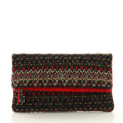 Chanel Paris-Salzburg Edelweiss Clutch Quilted Tweed Red