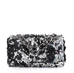 Chanel Summer Night Flap Bag Sequins with Leather Medium Black