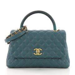 Chanel Coco Top Handle Bag Quilted Caviar with Lizard Small Blue