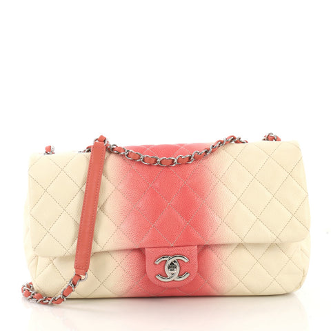 0cb95815cbc412 Chanel CC Chain Flap Bag Quilted Ombre Caviar Large Pink 4041929 – Rebag