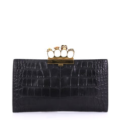 Alexander McQueen Flat Knuckle Clutch Crocodile Embossed Leather