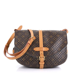 Louis Vuitton Flore Saumur Handbag Perforated Monogram Canvas