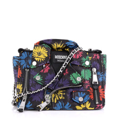 Moschino Biker Bag Printed Leather Medium Black 4041941