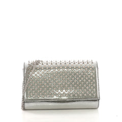 Christian Louboutin Paloma Clutch Spiked Leather Silver