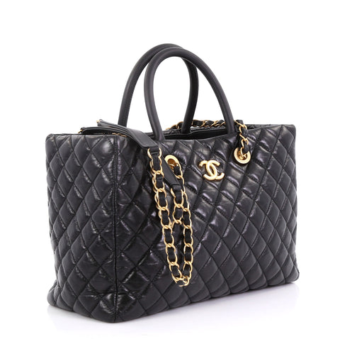 68f92967bd07 Chanel Coco Handle Shopping Tote Quilted Aged Calfskin 4041950 – Rebag