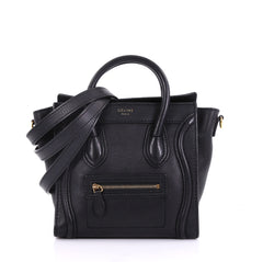 Celine Luggage Handbag Smooth Leather Nano Black