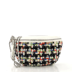Chanel Convertible Waist Bag Tweed with Quilted Leather White