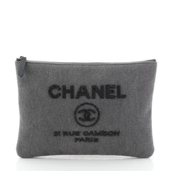 Chanel Deauville Pouch Denim with Sequins Medium Gray
