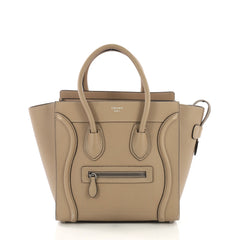 aebf079e76 Celine Luggage Handbag Grainy Leather Micro Neutral