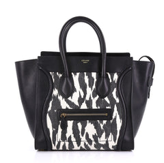 Celine Luggage Handbag Printed Textile and Leather Mini Black