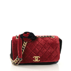 Chanel Paris-Cosmopolite Camellia Flap Bag Quilted Velvet Medium