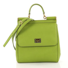 Dolce & Gabbana Miss Sicily Handbag Leather Medium Green 404362