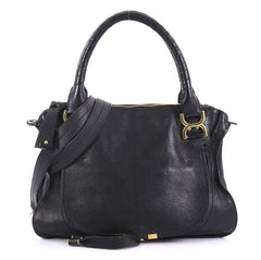 Chloe Marcie Satchel Leather Medium Black 404481